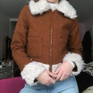 Faux Fur & Tweed Aviator Vintage Style Jacket